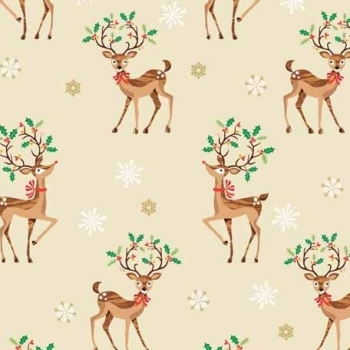 REMNANT Traditional Metallic Christmas Retro Reindeer Holly Kitsch Scatter Bright Cotton Fabric