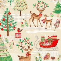 Traditional Metallic Christmas Tree Retro Reindeer Holly Kitsch Scenic Bright Cotton Fabric