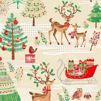 Traditional Metallic Christmas Tree Retro Reindeer Holly Kitsch Scenic Bright Cotton Fabric