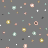REMNANT Modern Metallic Christmas Stars Metallic Gold Silver Grey Winter Cotton Fabric