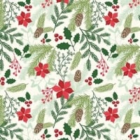 Comfort and Joy Main Cream Christmas Poinsettia Holly Floral Holiday Winter Red Cotton Fabric