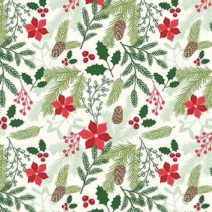 Comfort and Joy Main Cream Christmas Poinsettia Holly Floral Holiday Winter