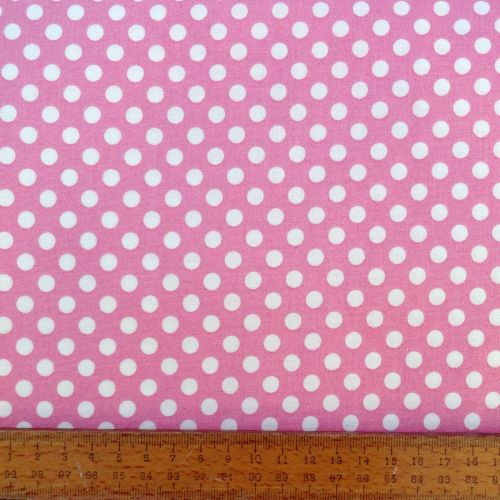 REMNANT Pink Spotty Dotty Polkadot Whimsical Wheels Cotton Fabric