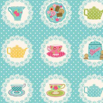 REMNANT Doilies Teacup Teapot Biscuits on Doily Blue Polkadot Cotton Fabric