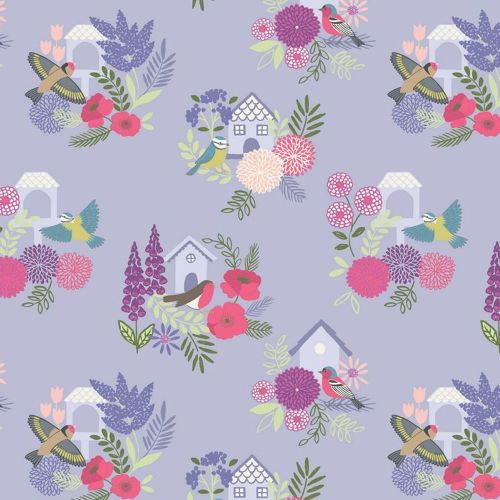 REMNANT Bird Houses on Lilac Floral British Birds Wildlife Cotton Fabric