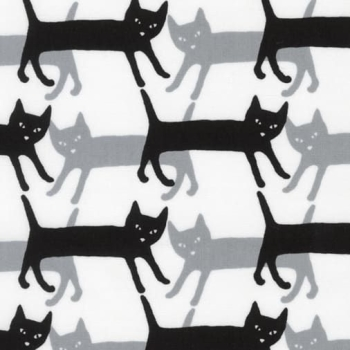 Kaufman Sevenberry Mini Prints Cats Grey Monochrome Cat Silhouette Cotton Fabric