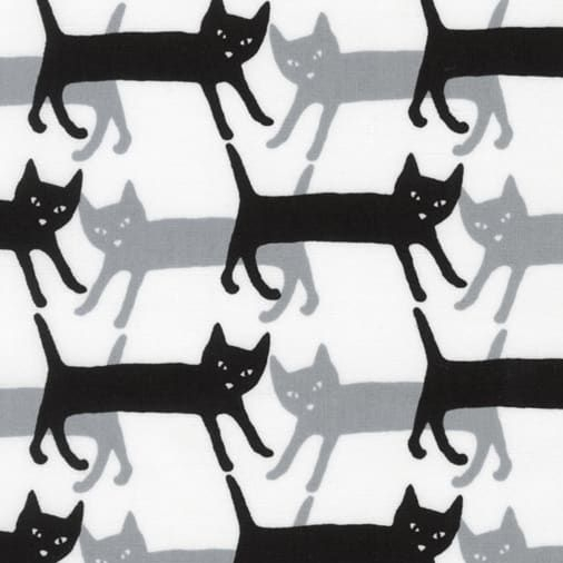 Kaufman Sevenberry Mini Prints Cats Grey Monochrome Cat Silhouette Cotton F