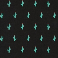 Kaufman Sevenberry Mini Prints Cactus Green Succulent Cacti on Black Cotton Fabric