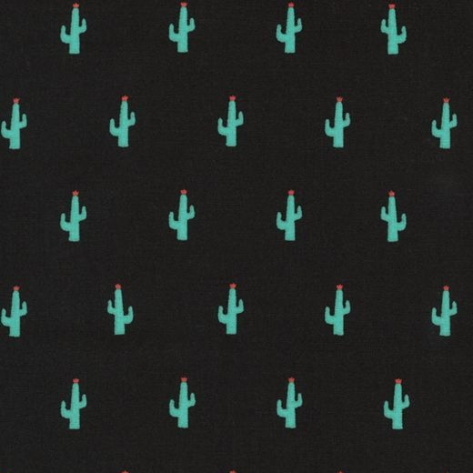Kaufman Sevenberry Mini Prints Cactus Green Succulent Cacti on Black Cotton