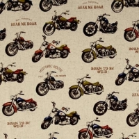 Cosmo Kitami Motorcycles Biker Motorbike Natural Cotton Linen Fabric by Cosmo Tex Japan.
