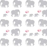 Safari Party Elephants White Marching Baby Elephant Family Balloons Nursery Cotton Fabric