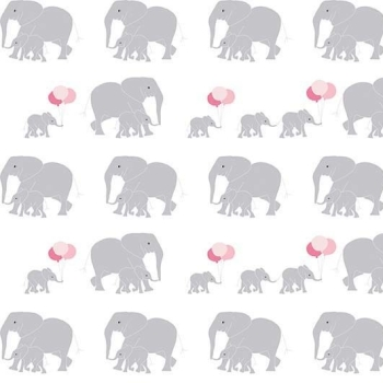 Safari Party Elephants White Marching Baby Elephant Family Balloons Nursery Cotton Fabric