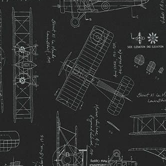 Vintage Blueprints Airplanes Black White Aeroplane Flight Plane Travel Cotton Fabric