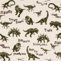 Dinosaurs Jurassic Dino Dinosaur Natural T-Rex Stegosaurus Cotton Fabric