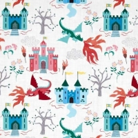 REMNANT Dragons Fairytale Dragon Castle on Cream Cotton Fabric