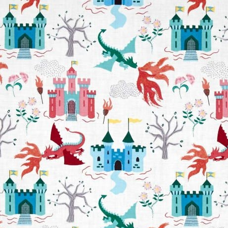 Dragons Fairytale Dragon Castle on Cream Cotton Fabric