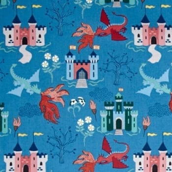 Dragons Fairytale Dragon Castle on Light Blue Cotton Fabric