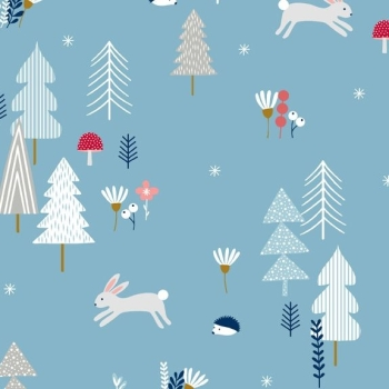 Forest Talk Bunny Fox Hedgehog Rabbit Woodland Trees Flowers Floral Cotton Fabric