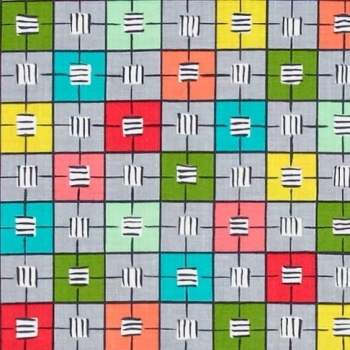 Michael Miller Our Yard Checkerboard Cloud Abstract Geometric Squares Grid Blocks Plaid Cotton Fabric