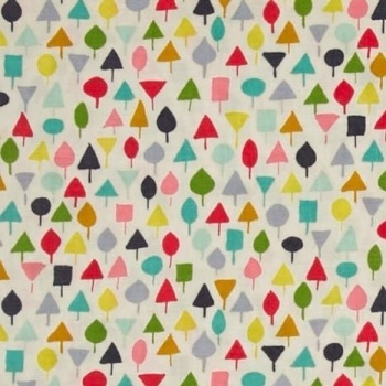 Michael Miller Our Yard Little Orchard Garden Abstract Geometric Tiny Trees Cotton Fabric