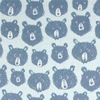 Brushed Cotton Cozy Teddy And The Bears Blue Cotton + Steel Brushed Cotton Flannel Fabric