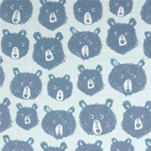 Brushed Cotton Cozy Teddy And The Bears Blue Cotton + Steel Brushed Cotton