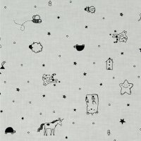 Sleep Tight Tinies Grey Stars Unicorn Sheep Cloud Cats Doodle Cotton Fabric by Cotton + Steel