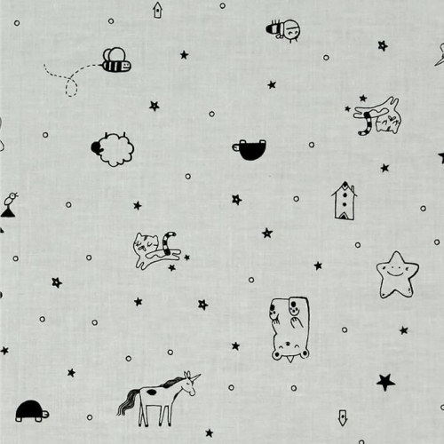 Sleep Tight Tinies Grey Stars Unicorn Sheep Cloud Doodle Cotton Fabric by C