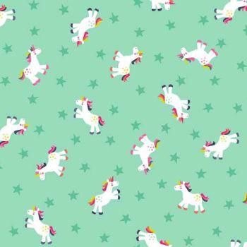 REMNANT Fantasy Unicorns Stars on Turquoise Unicorn Rainbow Cotton Fabric
