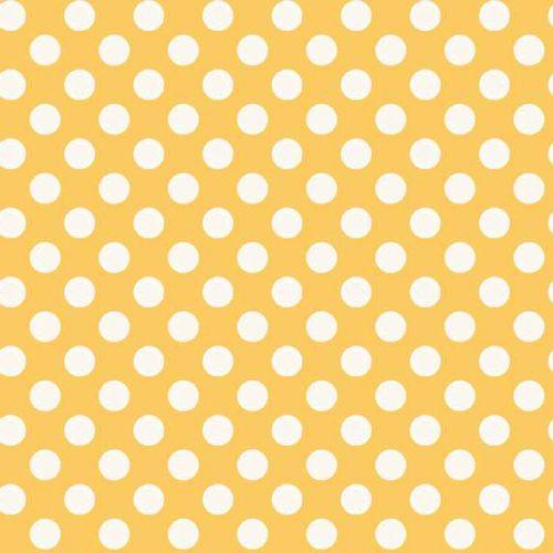 REMNANT Spot Yellow White Polkadot on Sunshine Yellow Spotty Dotty Cotton F