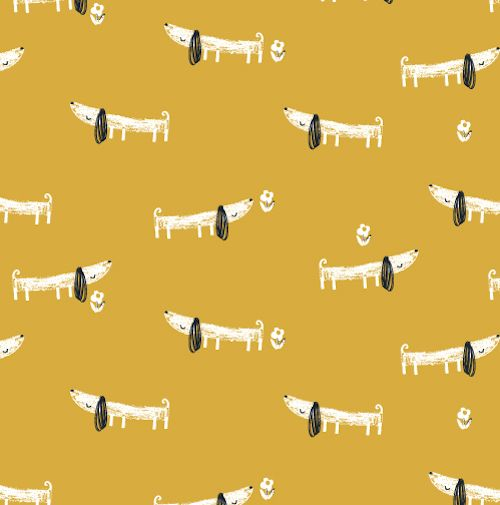 REMNANT Dachshund Sausage Dog Mori Girls Cotton Fabric