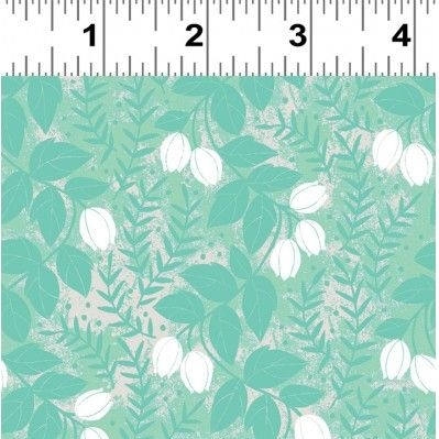 REMNANT Cherry Mint Tulip Floral Botanical Aqua Teal White Cotton Fabric