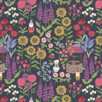 REMNANT Grandma's Garden on Navy Blue Floral Cat Garden Gnome Wishing Well Cotton Fabric