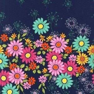 REMNANT Michael Miller Doodle Daisy Navy Floral Double Border Print Panel Cotton Fabric