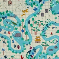 Lagoon Map Neutral Elephant Parrot Tree AdventureTravel Icon Graph Paper Cotton Fabric by Cotton + Steel