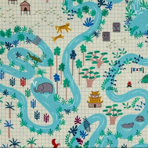 Lagoon Map Neutral Elephant Parrot Tree AdventureTravel Icon Graph Paper Co