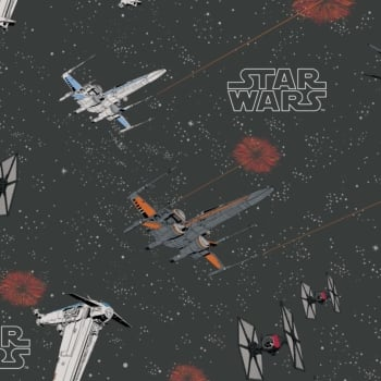 Star Wars Last Jedi Space Ship Battle Carbon Ships X-Wing TIE Fighter Cotton Fabric