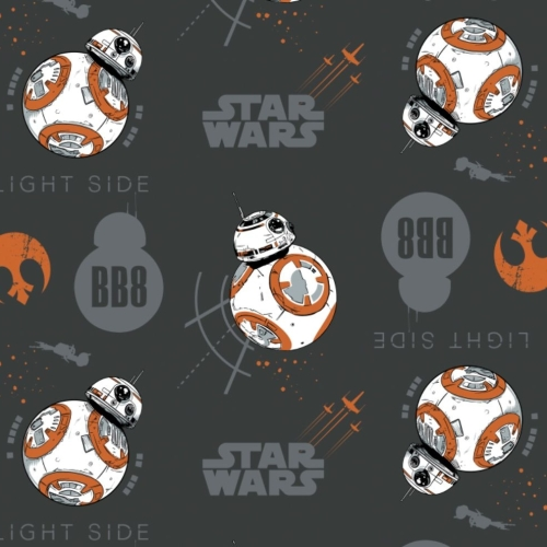Star Wars The Last Jedi BB8 Carbon Droid BB-8 Cotton Fabric