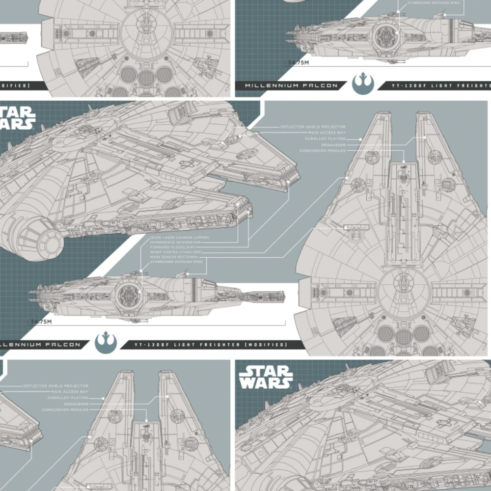Star Wars The Last Jedi Millenium Falcon Technical Drawing Corellian Light