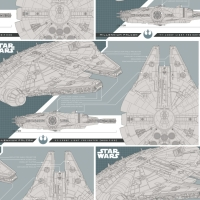 Star Wars The Last Jedi Millenium Falcon Technical Drawing Corellian Light Freighter Han Solo Cotton Fabric