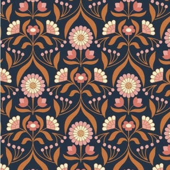 Chieveley Drawing Room Blooms Floral Flowers on Darkest Blue with Metallic Rose Gold Copper Cotton Fabric