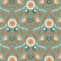 Chieveley Drawing Room Blooms Floral Flowers on Duck Egg Blue with Metallic Rose Gold Copper Cotton Fabric