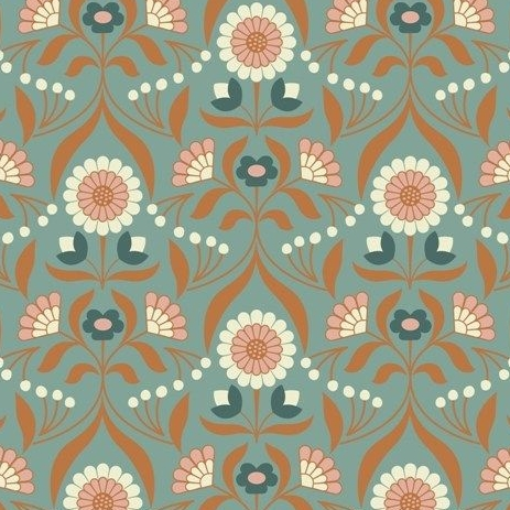 Chieveley Drawing Room Blooms Floral Flowers on Duck Egg Blue with Metallic