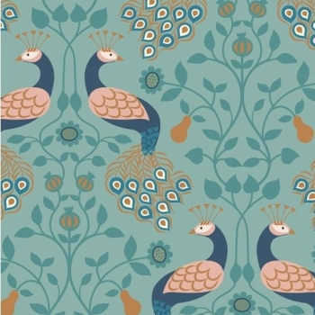 Chieveley Peacock and Pear Floral on Duck Egg Blue with Metallic Rose Gold Copper Cotton Fabric