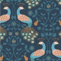 Chieveley Peacock and Pear Floral on Darkest Blue with Metallic Rose Gold Copper Cotton Fabric