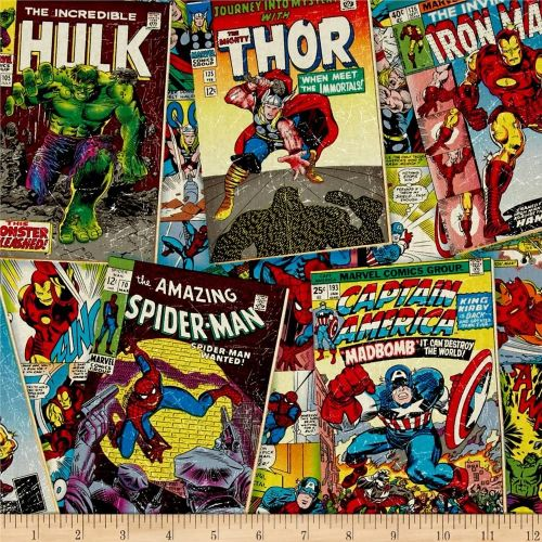 REMNANT Marvel Superhero Avengers Comic Book Covers Cotton Fabric