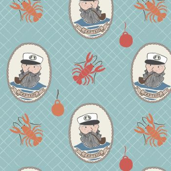 REMNANT Fishing Boat Sea Captain on Aqua Lobster Fisherman Nautical Harbour Side Cotton Fabric