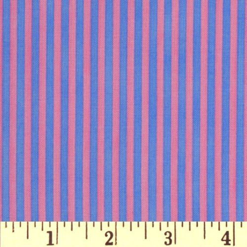 REMNANT Graphix Stripes Pink Periwinkle Pinstripe Cotton Fabric by Fabri-Qu