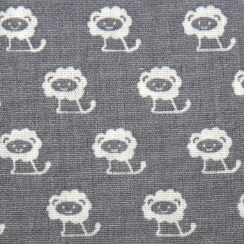Tiny Lions Miniature Jungle Animals Grey White Mini Lion Nursery Extra Wide Quilt Backing Cotton Fabric
