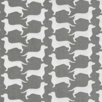 REMNANT Dachshund Sausage Dog Dog Gone It Silhouette Wiener Dog Grey Gray Cotton Fabric